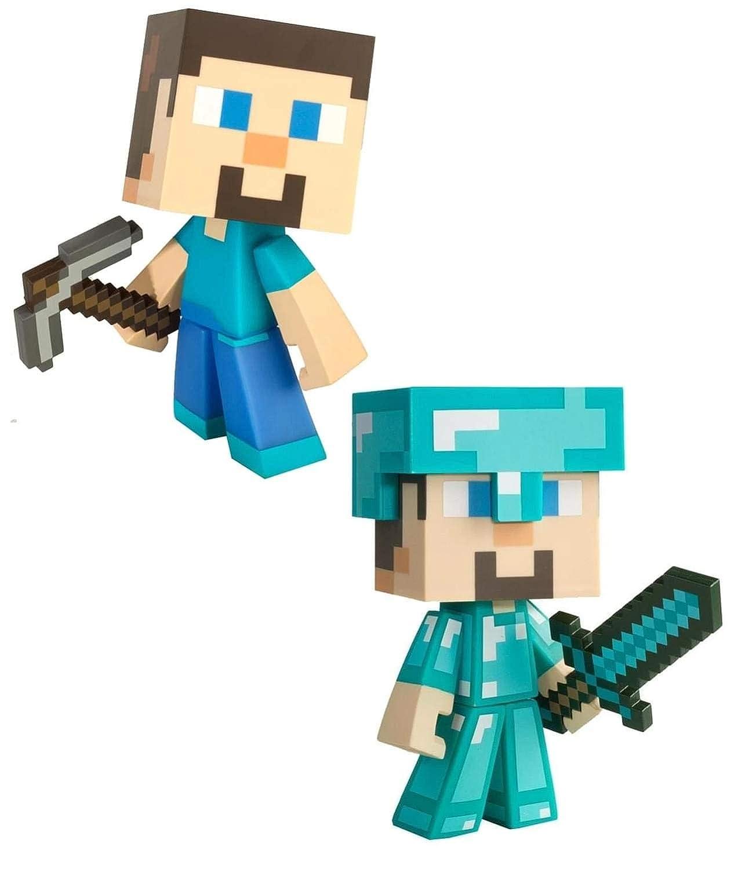 Minecraft Steve & Diamond Steve 6 Inch Vinyl Figure Set: Amazon.es ...