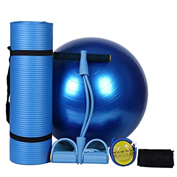 SHKY Large Padded Yoga Mat?183 * 61cm?/65cm Exercise Ball