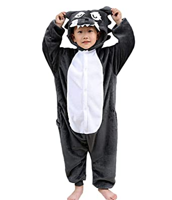 construction rationnelle achat le plus récent luxuriant dans la conception Enfants Unisexe Animal Pyjama Combinaison Carnaval Halloween Cosplay  Costume Kigurumi Loup