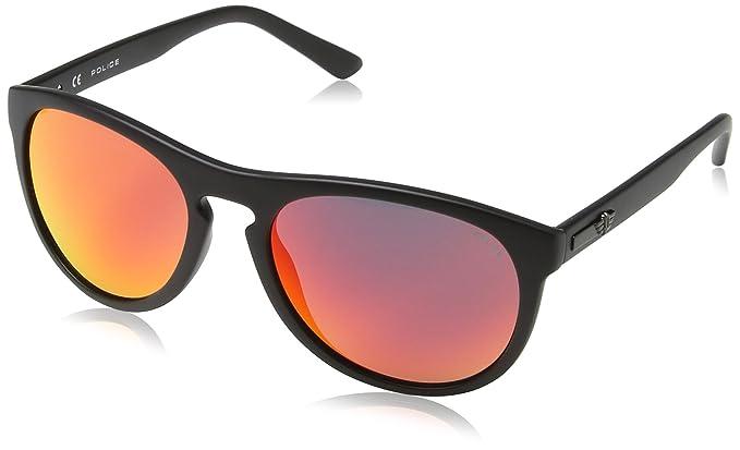 Police S1936 Hot 1 Wayfarer Sonnenbrille, Semi Matt Black & Orange Frame/red Mirror Lens