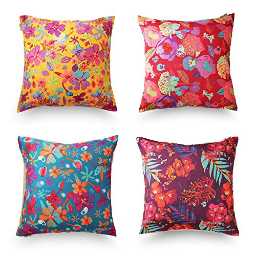 decoJungle Tropical Throw Pillow Covers, Set of 4 (18x18) - Floral Prints for Sofas, Couches, Chairs or Beds - Easy-to-Use Zipper Closure - Velvet and Canvas, Washing Machine-Safe - Premium (Floral Square Decorative Pillow)