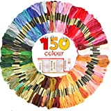 GeMoor 150 Skeins Embroidery Floss with 16 Pcs Embroidery Needles - 1200M Premium Rainbow Color Cross Stitch Floss - Cotton Cross Stitch Thread with 6 Strands Perfect for DIY, Bracelets, Embroidery