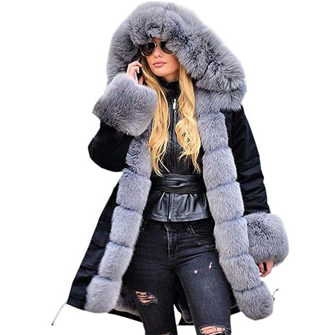 Cappotto con cappuccio Goth doppiopetto in pelliccia sintetica da uomo