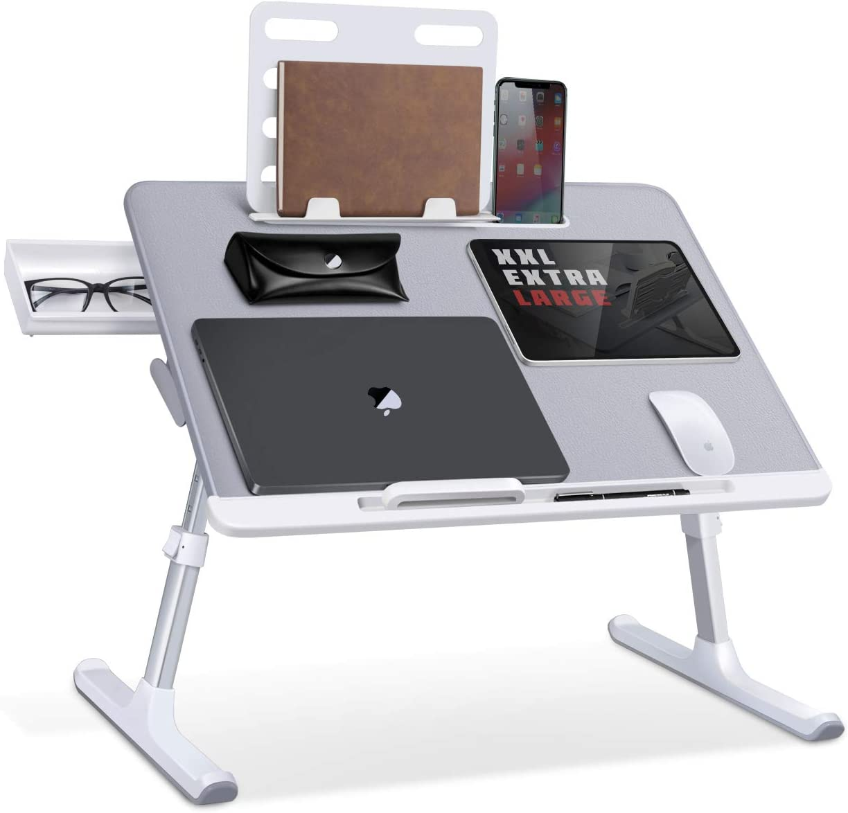 SAIJI Laptop Bed Tray Desk, Adjustable Laptop Stand for Bed, Foldable Laptop Table with Storage Drawer for Eating, Working, Writing, Gaming, Drawing (Gray, X-Large)