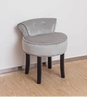 Grey Chenille Vanity StoolWILDE   Stool   Low Back Padded Chair with Wood Legs   Black  . Low Back Vanity Chair. Home Design Ideas