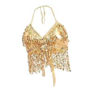 338f9e014b2 B Baosity Womens Glitter Sequin Tassel Halter Crop Top Latin Belly Dance  Bra Top Gold: Amazon.co.uk: Clothing