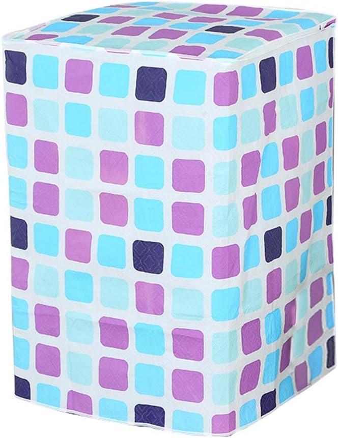 Vosarea - Funda de protección para lavadora (carga por la parte superior del lavadora), diseño de cuadros, color azul y morado