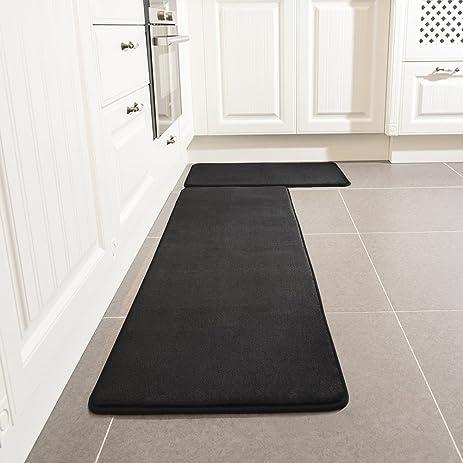 Kitchen Rug Set, LEEVAN Memory Foam Kitchen Comfort Mat Super Soft Rug  Microfiber Flannel Area