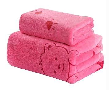 Juego de 2 toallas de baño grandes gruesas Toallas de baño ligeras absorbentes, rosa: Amazon.es: Deportes y aire libre