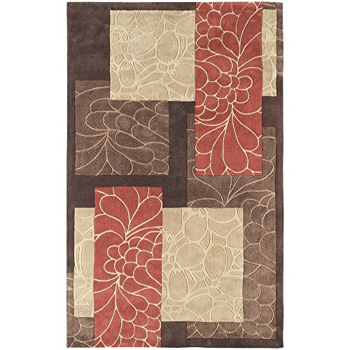 Surya Cosmopolitan COS-8889 Transitional Hand Tufted 100% Polyester Dark Chocolate 2' x 3' Floral Accent Rug