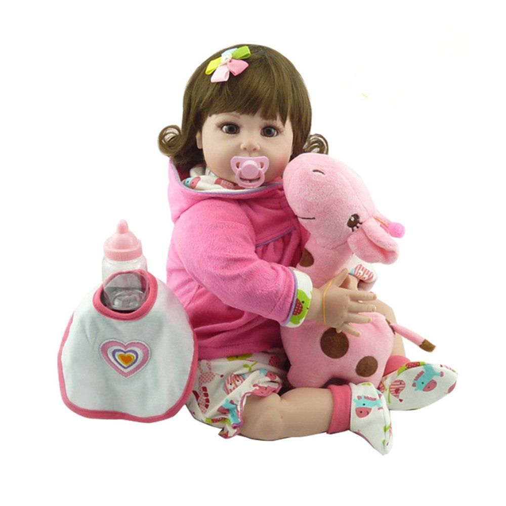 "decdeal 22 "" Rebirthベビー人形、Like Real Life新生児かわいいベビーガール人形ギフトwith Giraffeおもちゃ、ピンク   B07DGVDPWT"