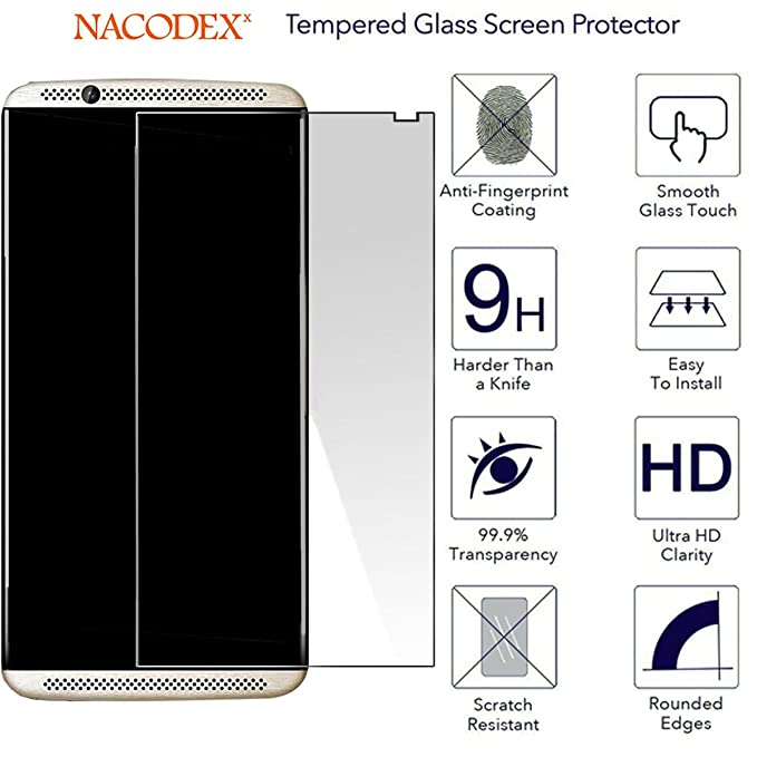 for ZTE Axon 7 Glass Screen Protector, Nacodex 9H Hardness Anti-Explosion  Tempered Glass Screen Protector 2 5D Film Guard (for ZTE Axon 7)
