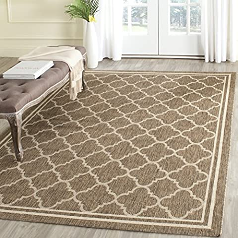 Safavieh Courtyard Collection CY6918-242 Brown and Bone Indoor/ Outdoor Area Rug (4' x 5'7