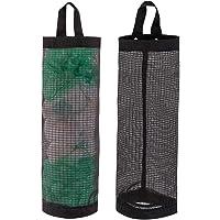 LINEVI Bag Holder For Plastic Bags, 2 Pcs Polyester Grocery Bag Holder Plastic Dispenser Foldable Breathable Washable…