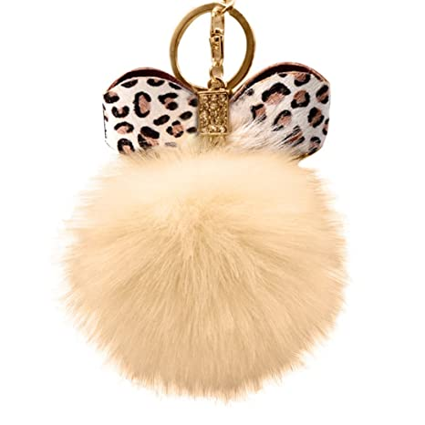 57fb107695fd EQLEF® Leopard-print Bow-knot Keychain with Plush Faux Fur Key Chain for  Car Key Ring or Bags  Amazon.co.uk  Kitchen   Home