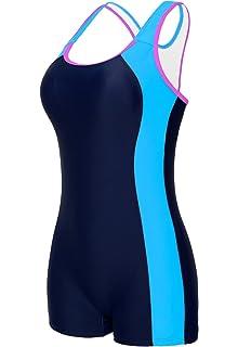 fa6dea872b beautyin Women's Swimsuit Boyleg Racerback One Piece Athletic Bathing Suit