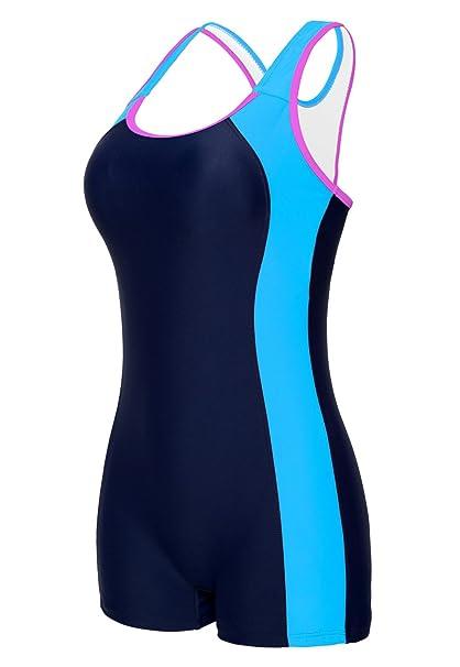 5ced7b7483589 beautyin Womens Boyleg One Piece Swimsuit Racerback Padded Sport Swimwear  Tag 38