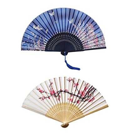 57b5ba167 BESTIM INCUK Hand Held Silk Folding Fans with Bamboo Frame, Cherry Blossom  and Butterflies Flying among the Flowers Pattern, Pack of 2: Amazon.co.uk:  ...
