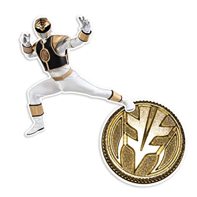 Popfunk Power Rangers White Ranger and Coin Collectible Stickers: Home & Kitchen