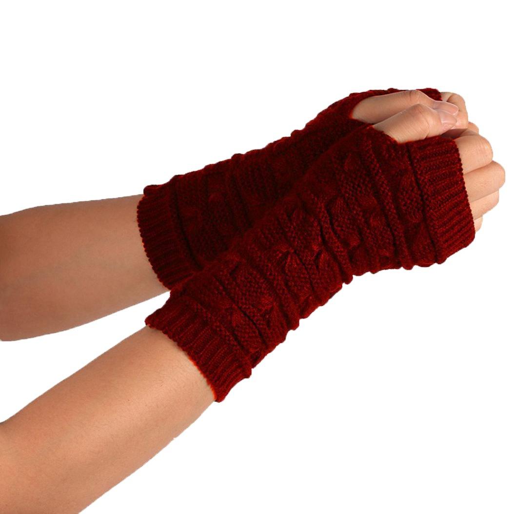 Charberry Fashion Arm Fingerless Winter Unisex Soft Warm Mitten Gloves (Wine Red)