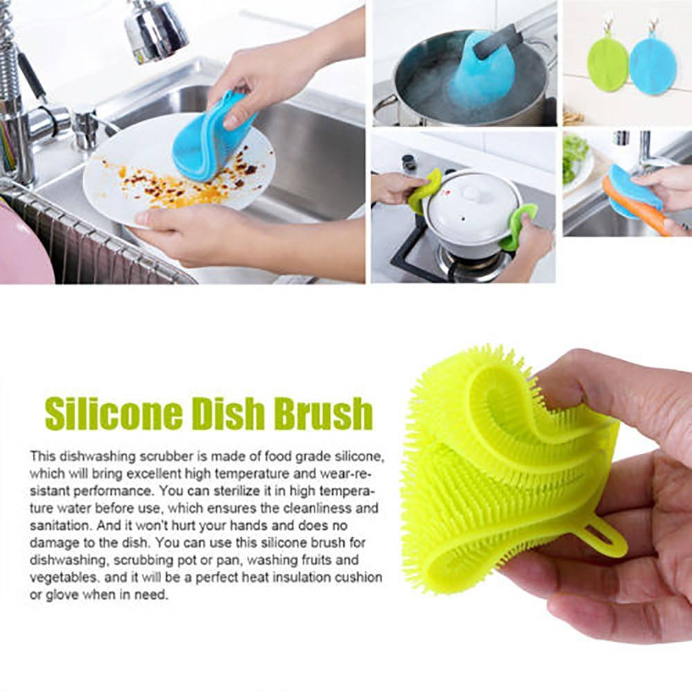 LOLPI Silicone Dishwashing Brush, Multi-Functional Antibacterial Sponge Brush, Multi-Purpose Cleaning Brush Can Clean Bowl, Pot, Fruit, Etc. 6 Packs