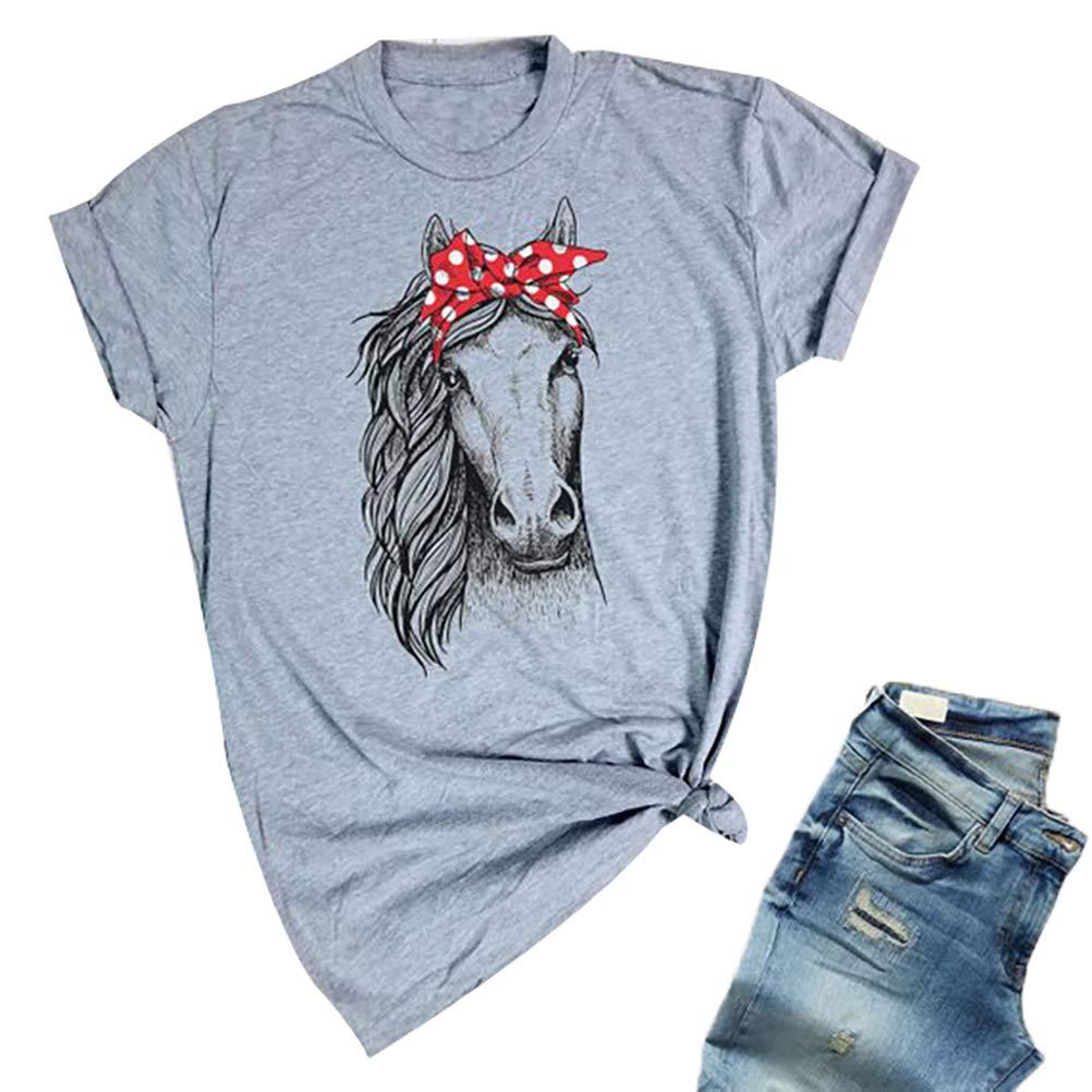 Womens Casual Horse Print Crew Neck  T-Shirt Blouse Top Basic Tee Short Sleeve