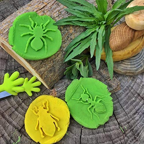 slime bugs kinetic sand molds wooden toys Montessori mini beasts stamps wooden playdough stampers Insects wooden play dough stampers