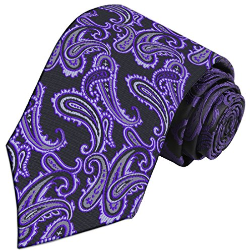 Black / Paisley Purple - KissTie Purple Black Tie Paisley Necktie + Gift Box