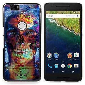"Qstar Arte & diseño plástico duro Fundas Cover Cubre Hard Case Cover para Huawei Google Nexus 6P (Psychedelic Neon Skull"")"