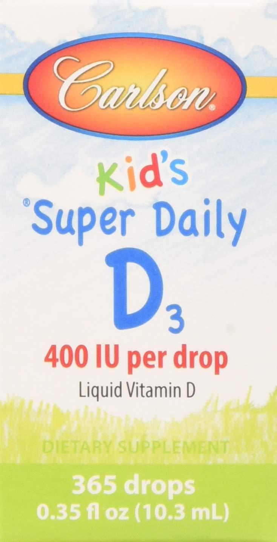 Carlson - Baby's Super Daily D3, Baby Vitamin D Drops, 400 IU (10 mcg) per Drop, Vegetarian, Liquid Vitamin D Drops, Unflavored, 365 Drops (3 Pack)