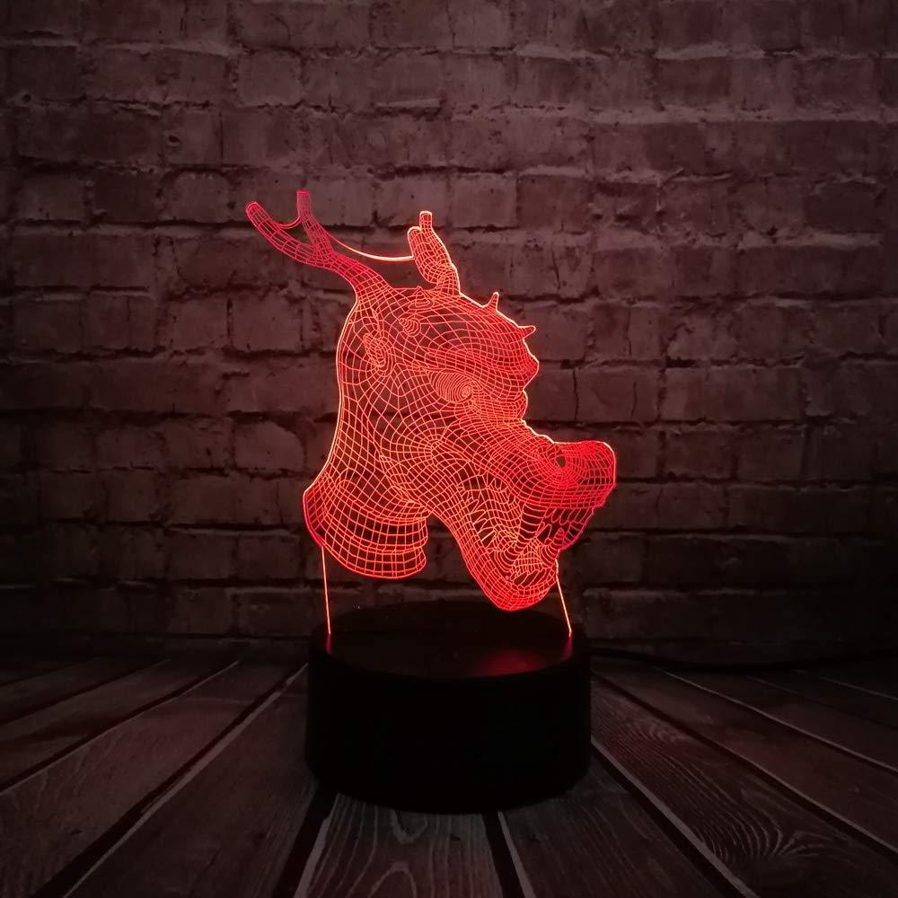 KangYD Animal Dragon Head 3D Illusion Night Light/LED Baby Sleep ...