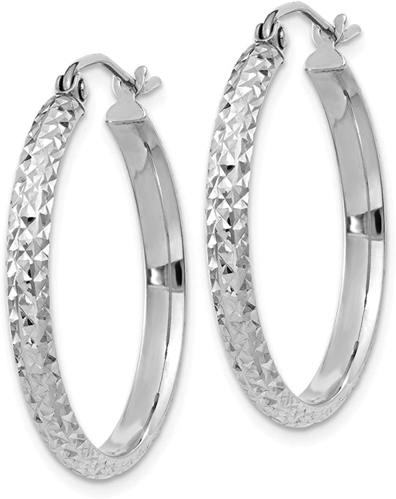 14K White Gold 2.8X25Mm Hoop Earrings Ohr Hoops Satz Fine Jewelry für Women Gifts für Her