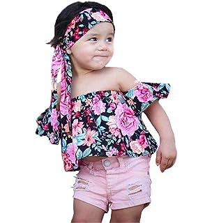 28864befa25 Fashion Baby Girls Off Shoulder Boho Print Floral Multicolor Mother  Daughter Matching Blouse + Bandage Headband