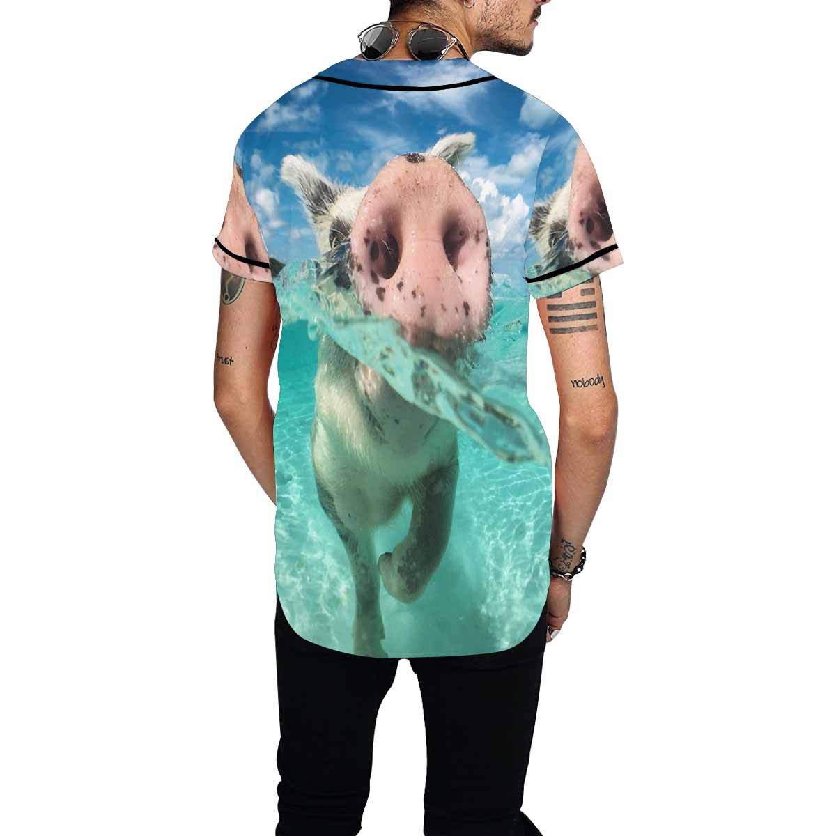 INTERESTPRINT Baseball Jersey Funny Wild Swimming Pig on Big Majors Cay in The Water
