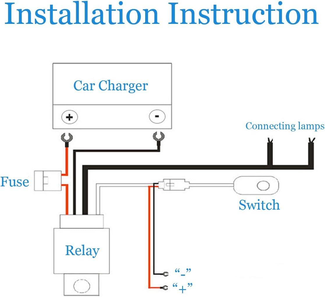 Maso Wiring Harness for Led Light Bar LED Relay Kit Off-Road 12V ...