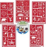 Animal Reusable Stencils 5 Pack: Horses, Sea Creatures, Farm Animals, Wild Animals, Dog & Cat Stencils for Paint or Glass Etching + How to Etch CD