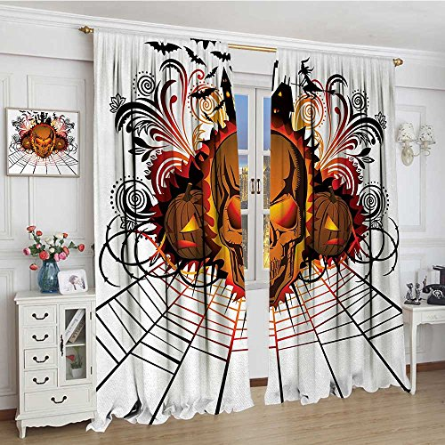 youpinnong Halloween Widened Room Darkening Curtains Angry Skull Face on Bonfire Spirits of Other World Concept Bats Spider Web Design Drapes for Living Room 120