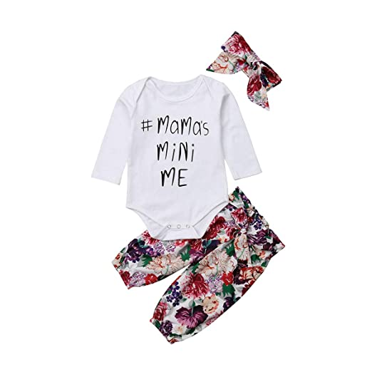 076f61d0e28 Newborn Infant Baby Girl Romper Floral Pants Headband Long Sleeve 3Pcs  Outfits Set (0-