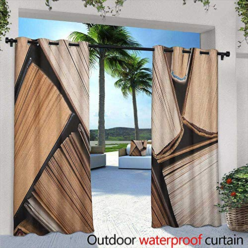 (Marilds Abstract Outdoor Grommet Window Curtain Pile of Old Books Research Reading Library Education Literature Theme Picture Room Darkening Thermal 96