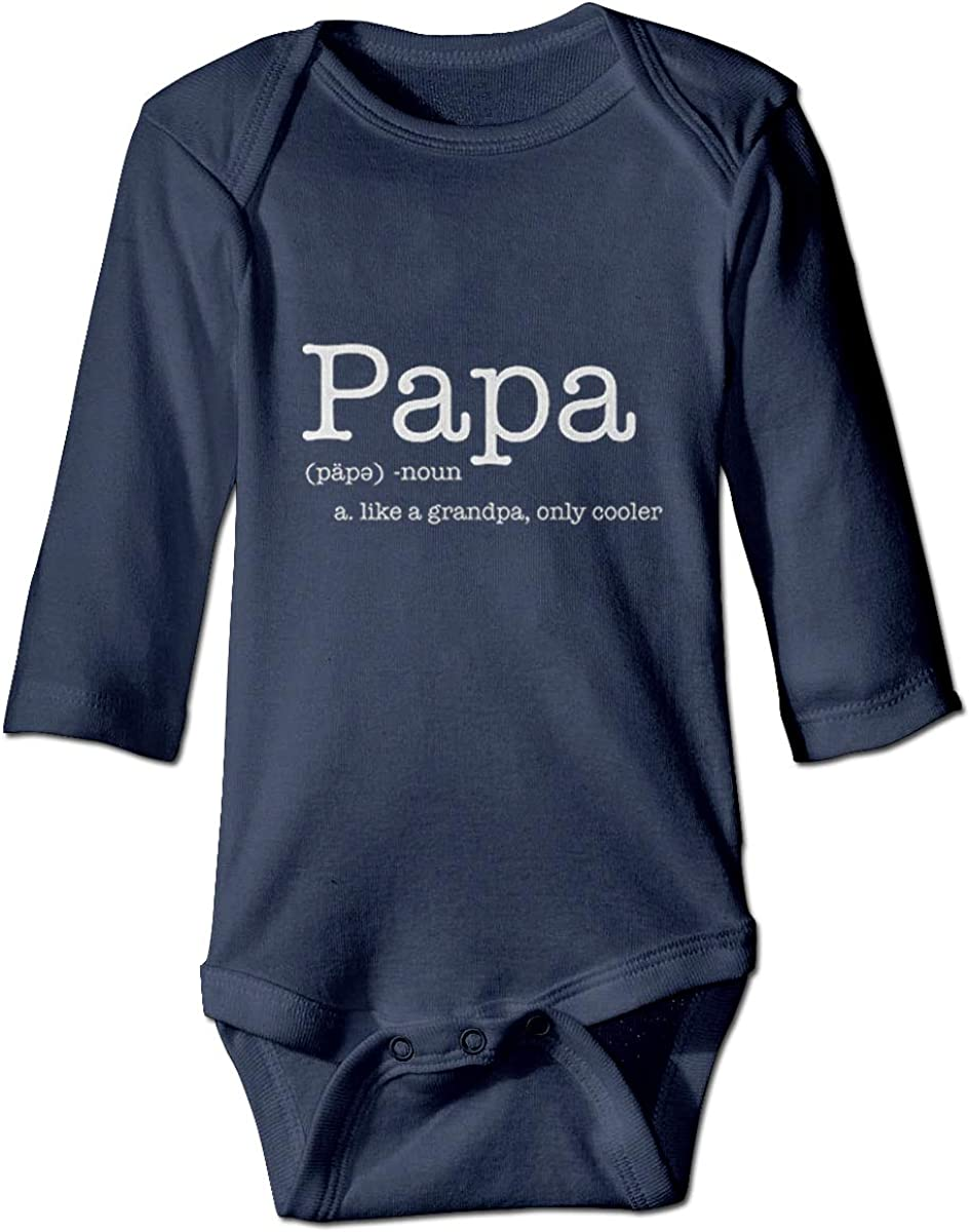 WUHAN1 PAPA Like a Grandpa Only Cooler Long Sleeve Bodysuit Navy