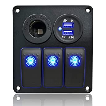 IZTOSS 3 Gang Rocker Switch Panel with Power Socket 3.1A Dual USB Wiring Kits and Decal Sticker Labels DC12V//24V for Marine Boat Car Rv Vehicles Truck
