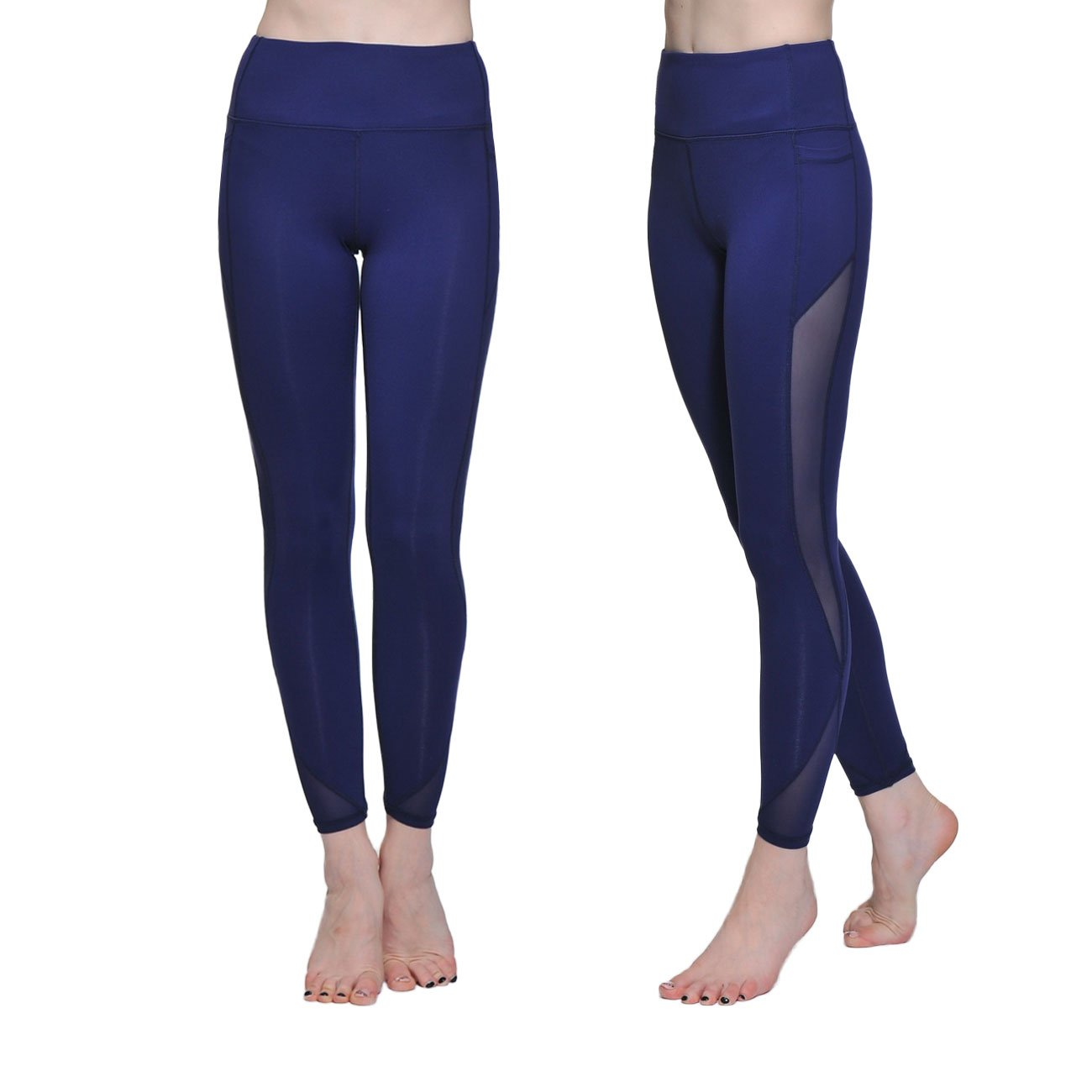 Chikool Women's Mesh Yoga Running Workout Pants High Waist Leggings w Phone Pockets (L, Navy) by Chikool