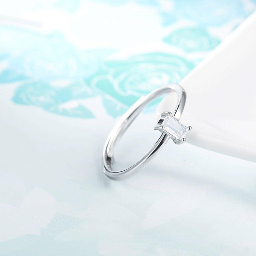 Anillo de mujer 925 Anillo de plata Detalle fino Anillo de piedra principal rectangular Aluminio Accesorios ajustables de plata