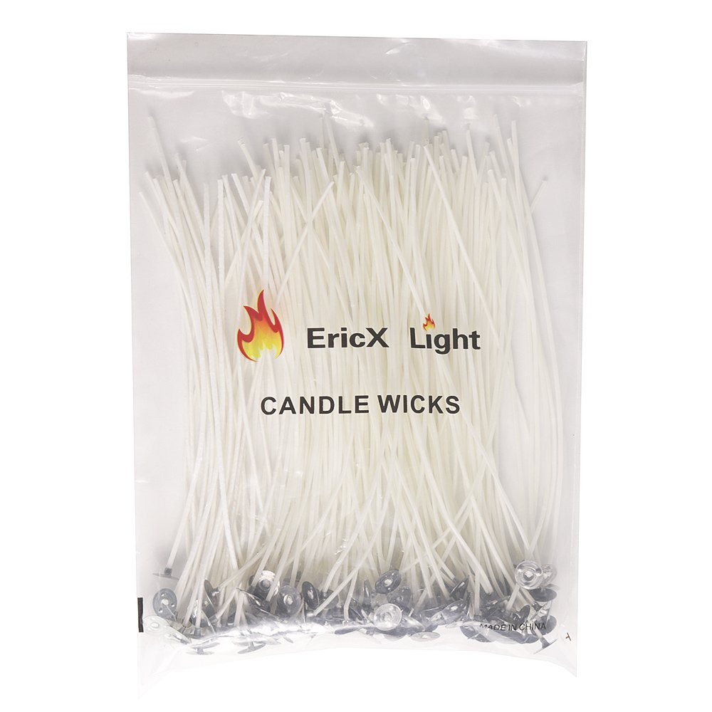 "EricX Light 100 Piece Natural Candle Wick, Low Smoke 8"" Pre-Waxed & 100% Natural Cotton Core,for Candle Making,Candle DIY"