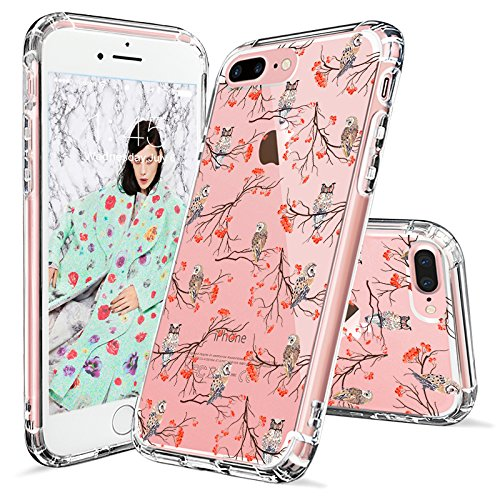 iPhone 8 Plus Case, iPhone 7 Plus Case, MOSNOVO Fashion Cute Owls Printed Clear Design Transparent Plastic Hard Back Case with TPU Bumper Protective Case Cover for iPhone 7 Plus - Feminine Of Owl