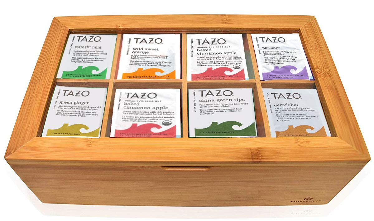 Tazo Tea Bags Sampler Assortment Gift Box - 80 Count - 14 Different Flavors Perfect Variety Pack in Bamboo Gift Box - Gift for Family, Friends, Coworkers – Passion Fruit, Awake English Breakfast ...