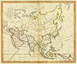 1799 School Atlas   A map of Asia according to the method of the Abbe Gaultier. By Mr. Wauthier, his pupil, 1799.   Antique Vintage Map Reprint