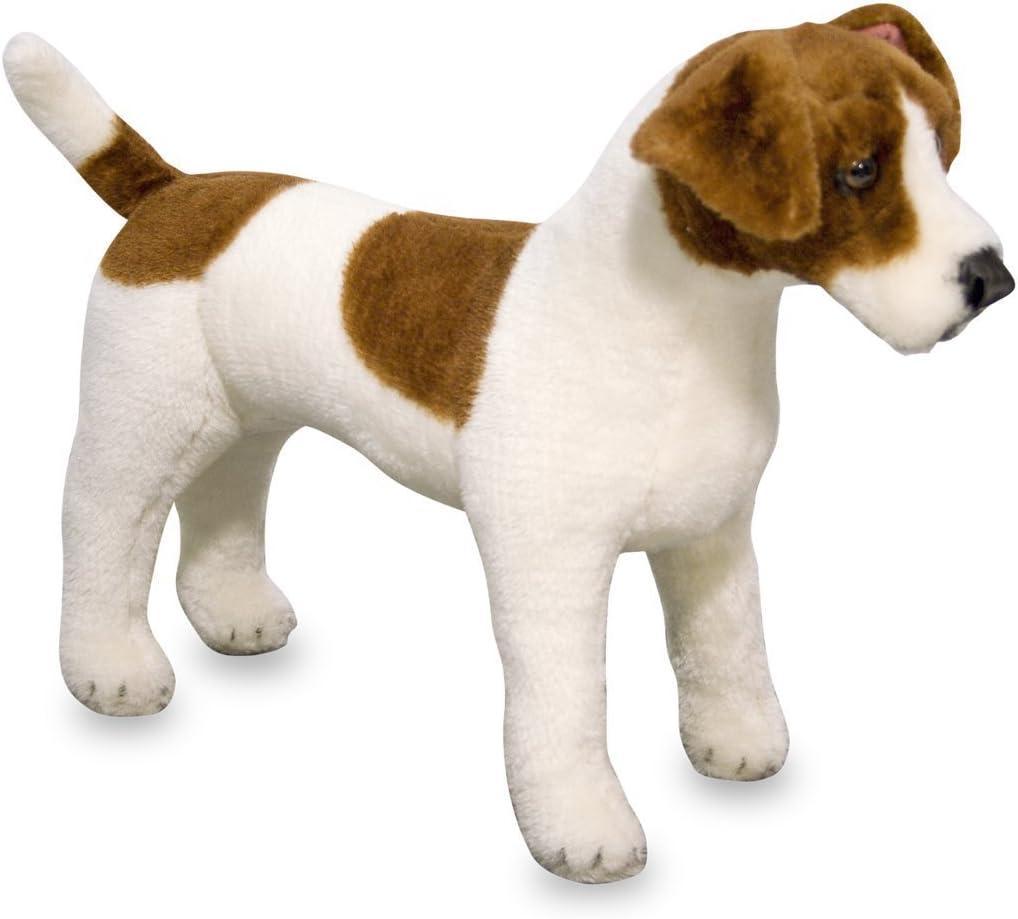 Melissa & Doug Melissa&Doug- Jack Russell Terrier Dog Giant Juguete de Pluche, Color marrón, Blanco LLC 14867