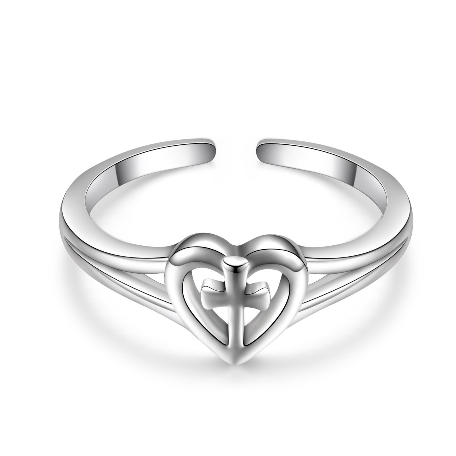 Sterling Silver Love Cross Rings Adjustable Open Polished Christian Heart Promise Anniversary Rings for Her, Size 7 by LUHE (Image #4)