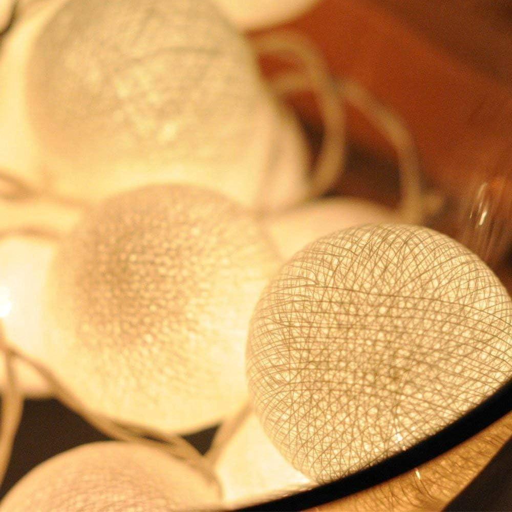 Guirlande Lumineuse Coton Boules 3,5M 20 LED Cha/îne Lumi/ère Avec Prise pour Chambre Rideau F/ête No/ël Anniversaire Halloween Mariage Chambre de B/éb/é Romantique D/écor